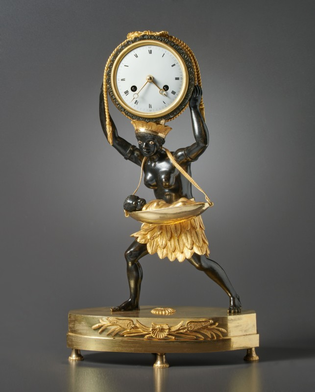 "An Empire mantel clock ""La Nourrice Africaine or the African Nursemaid"", housed in a case after a design by Louis Croutelle aîné, Paris, date circa 1810"