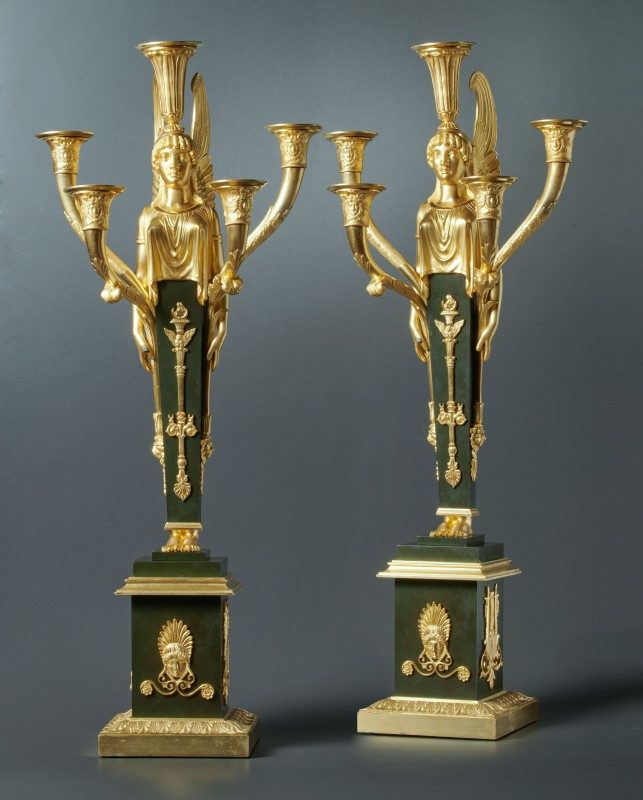 A pair of Empire five-light candelabra, Paris, date circa 1805-15