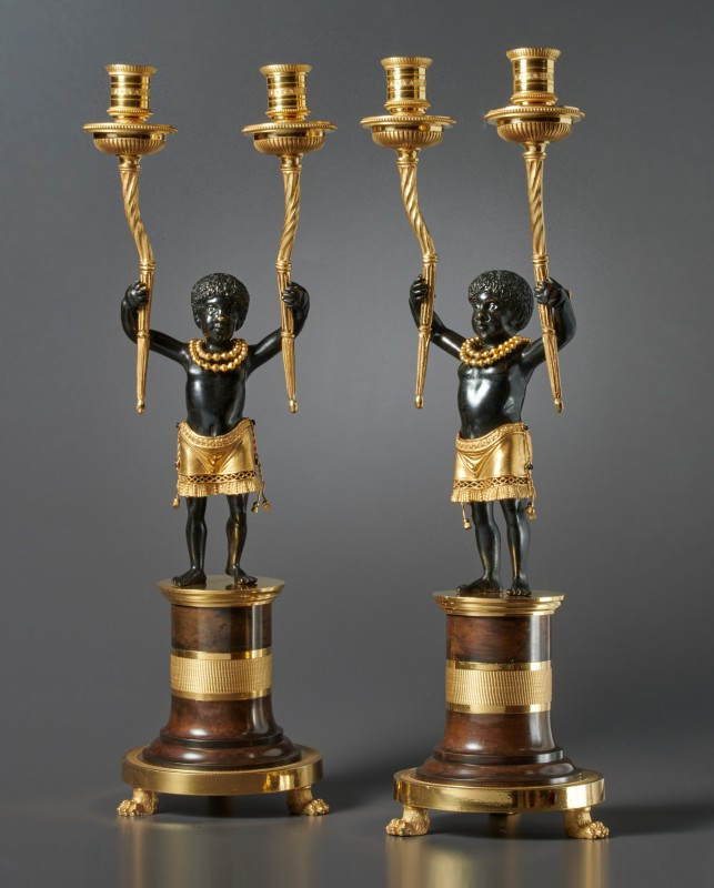 "A pair of Directoire candelabra ""Au Jeune Nègre"" by Jean-Simon Deverberie, Paris, date circa 1799"