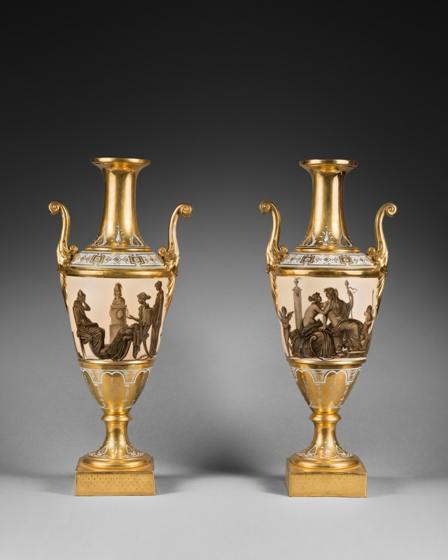 A pair of Empire Paris porcelain vases, Paris, date circa 1805-1810