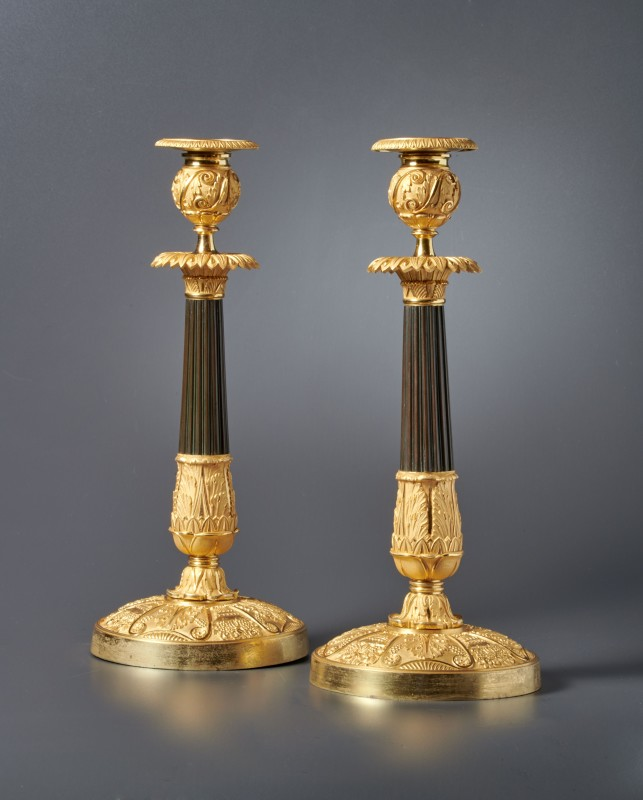 A pair of Empire candlesticks, Paris, date circa 1820