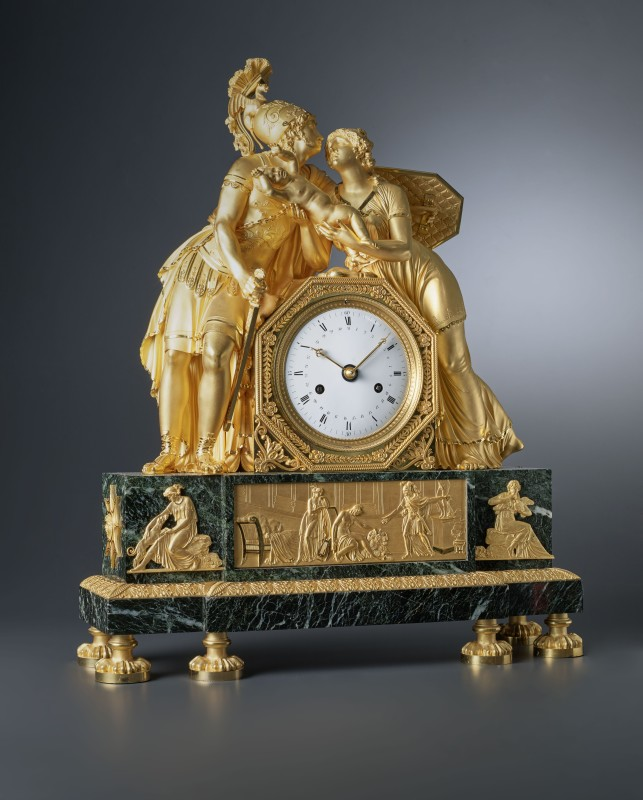 An Empire mantel clock, representing Hector and Andromache's final parting, housed in a case attributed to Claude Galle, Paris, date circa 1805
