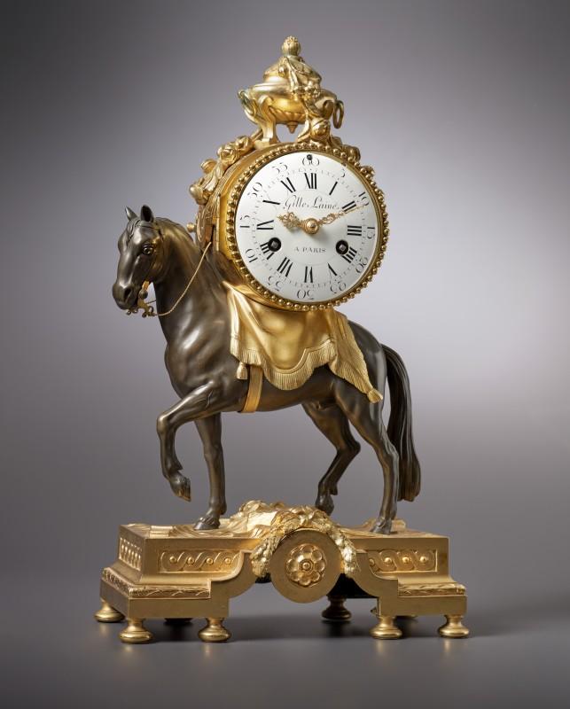 A Louis XVI miniature pendule 'au cheval' by Gille L'aine, case by François Vion, Paris, date circa 1770