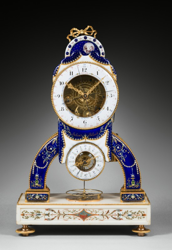 A late 18 th Century striking skeleton clock with Revolutionary time and remontoire by Julien Beliard, the enamels by Joseph Coteau, Paris, date 1794