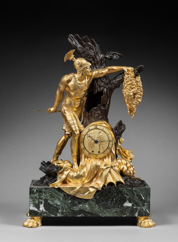 An Empire mantel clock with case representing Jason and the Golden Fleece attributed to Pierre-François Feuchère, page 180 - 181, Nr. 81, Paris, date circa 1810