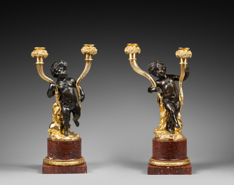 A pair of Louis XVI figural candelabra, attributed to Clodion, Paris, date circa 1780