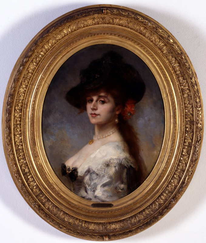 """La Dame au coffret"" by Jacques Charles Ferdinand Humbert, Paris, dated 1882"