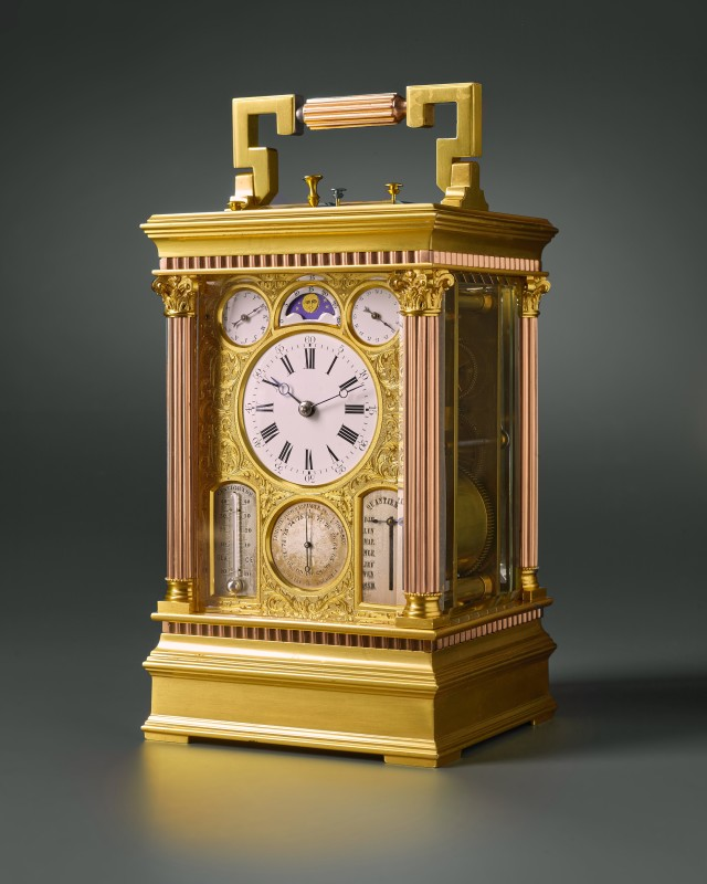 A French grande sonnerie, calendar, moon phase, thermometer and barometer and fly-back carriage clock by Victorien Boseet (VB) , Paris, date circa 1878