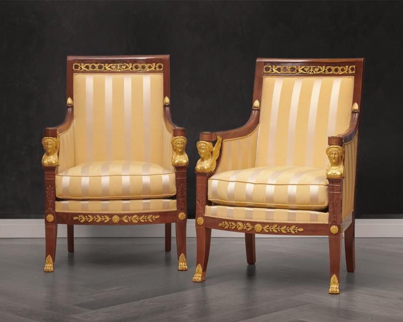 A suite of Restauration seating furniture, containing a pair of bergères, a set of 6 fauteuils and a canapé by Etienne-François Quenne, Paris, date circa 1825