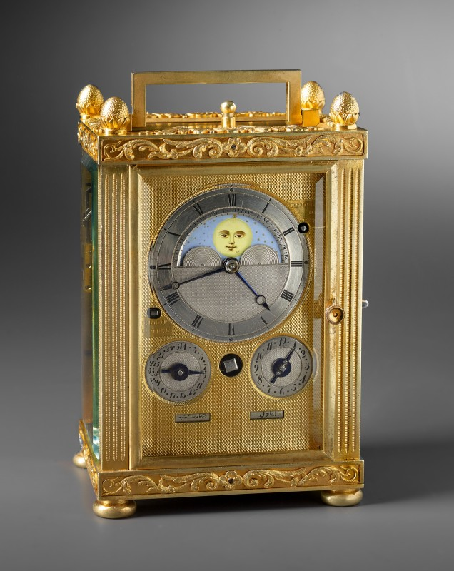 A carriage clock with grande and petite sonnerie, moon dial and calendar work by Charles Frédéric Klentschi , La-Chaux-de-Fonds, date circa 1830 - 40