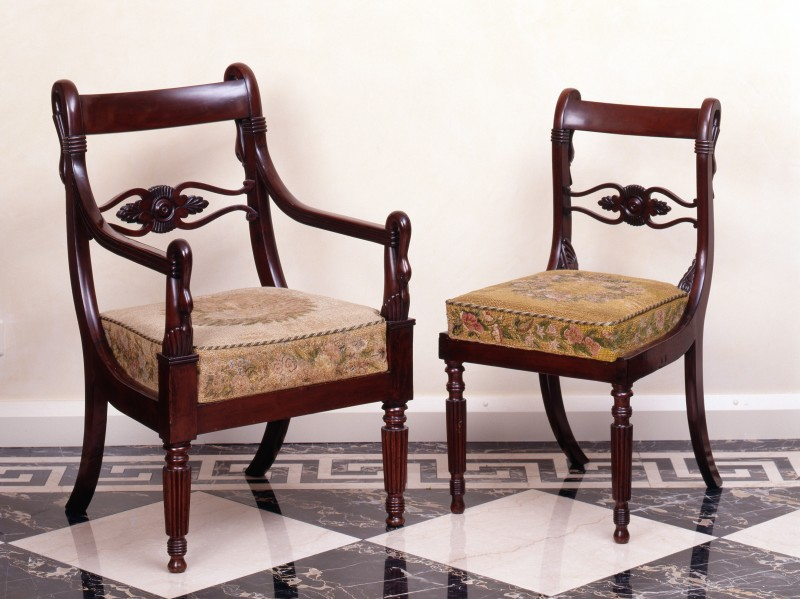A set of eight Empire figural dining chaire, attributed to Jacob-Desmalter et Cie, Paris, date circa 1810-20