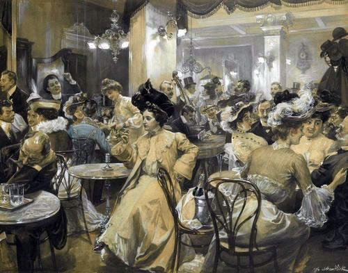 Austro-Hungarian scene in a bar, Vienna, date circa 1915