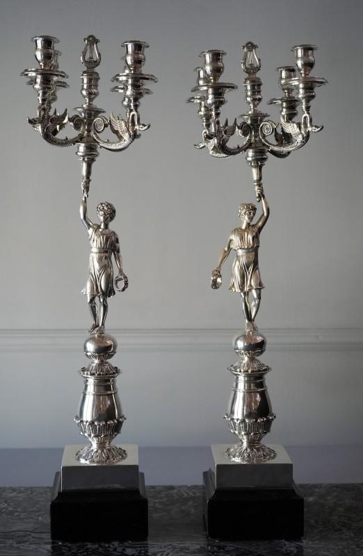 A pair of Empire four-light candelabra, Barcelona, date circa 1820