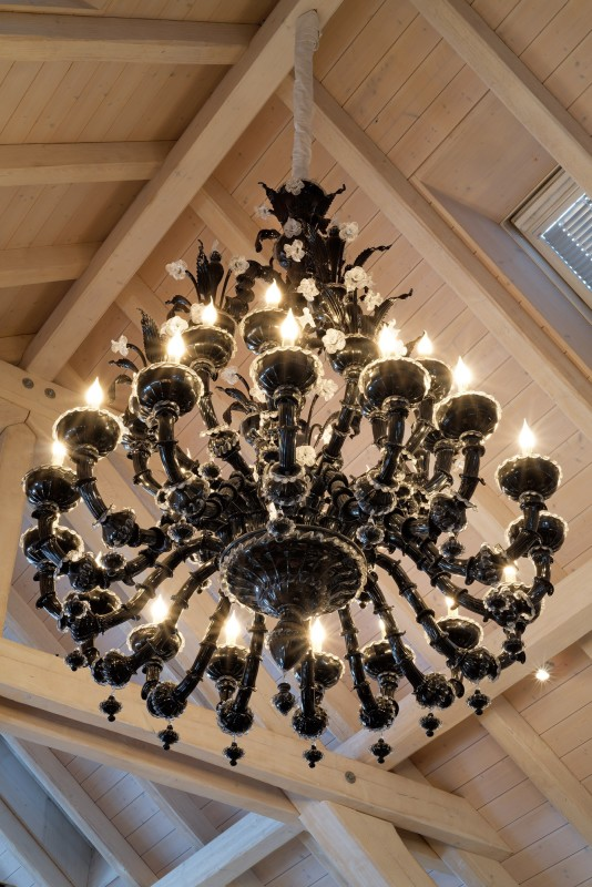 A black Murano glass chandelier with 36 lights, Murano, Venice, date 20th Century