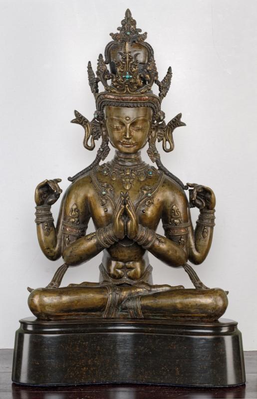 A four armed figure of Avalokitesvara known as Sadaksari, Tibet, 13th/14th Century