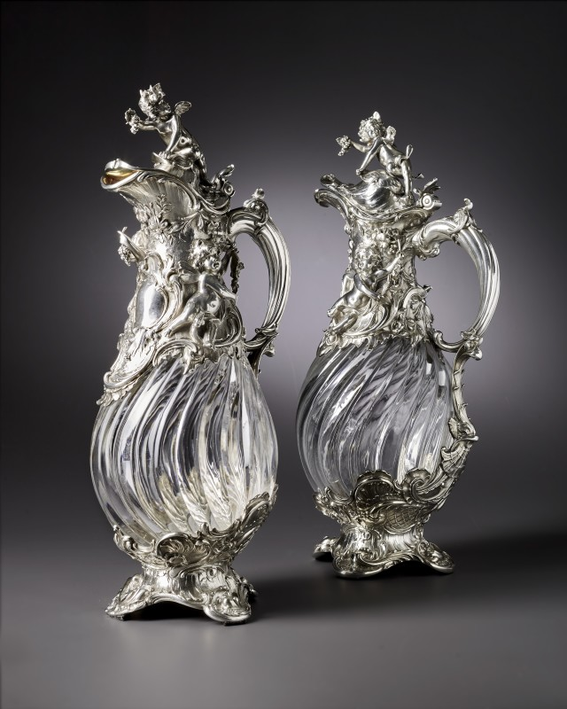 A pair of Rococo revival claret jugs by Koch & Bergenfeld, Bremen, date crica 1880