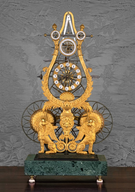A late Empire multi-dial skeleton clock of year duration by Jean-Guillaume Aerts (top dial missing), Tongres, Belgium, circa 1810