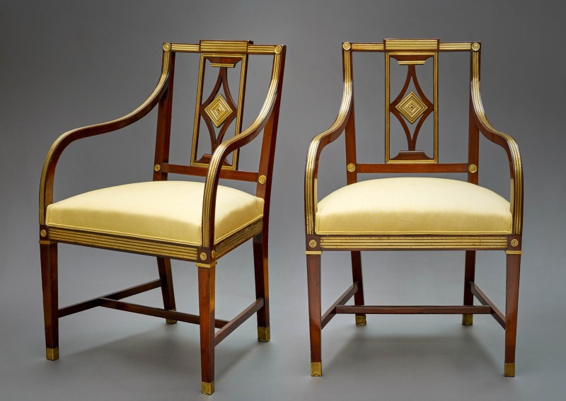 A pair of Louis XVI period Russian pair of Fauteuils, Russia, date circa 1780
