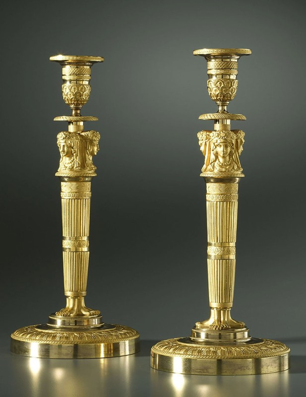 A pair of Empire candlesticks attributed to Claude Galle , Paris, date circa 1805-10