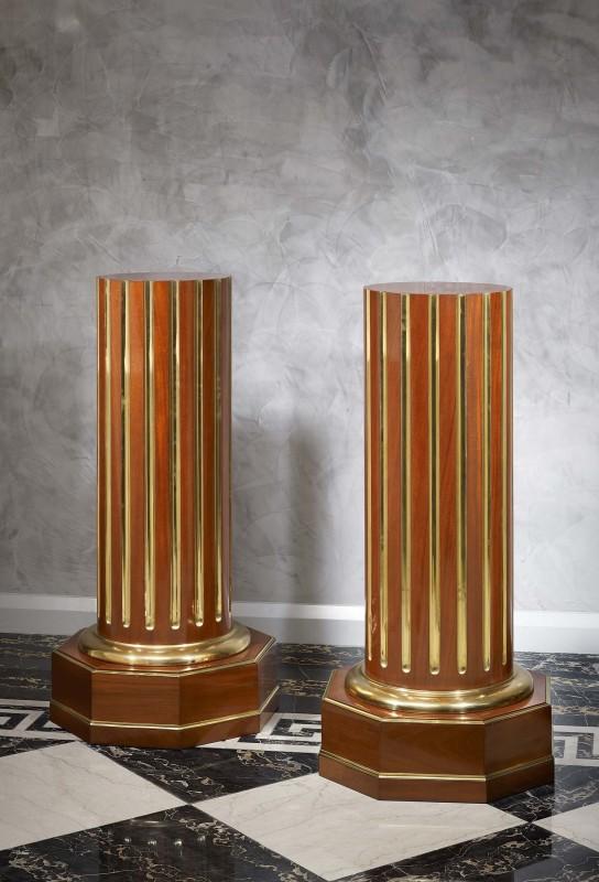 A pair of Empire period Russian mahogany columns, Russian, date circa 1810-20