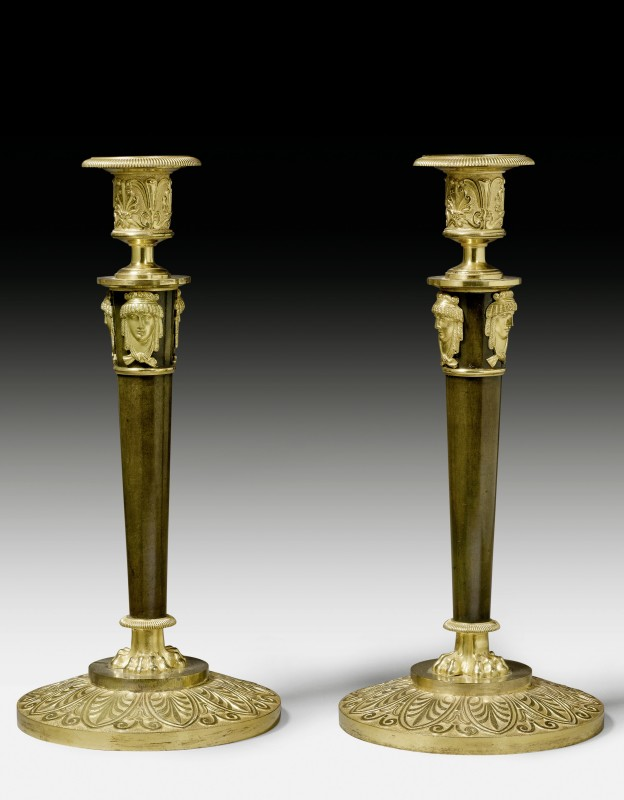 A pair of Empire candlesticks, Paris, date circa 1810