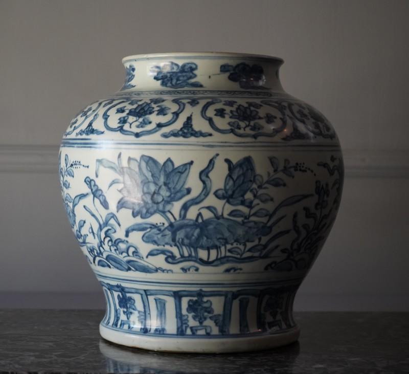 A large underglaze blue baluster Jar, Ming Dinasty, date circa 1500