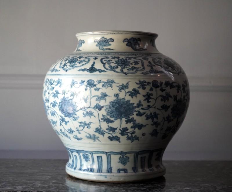 A large underglaze blue baluster Jar, Ming Dynasty, date circa 1500.