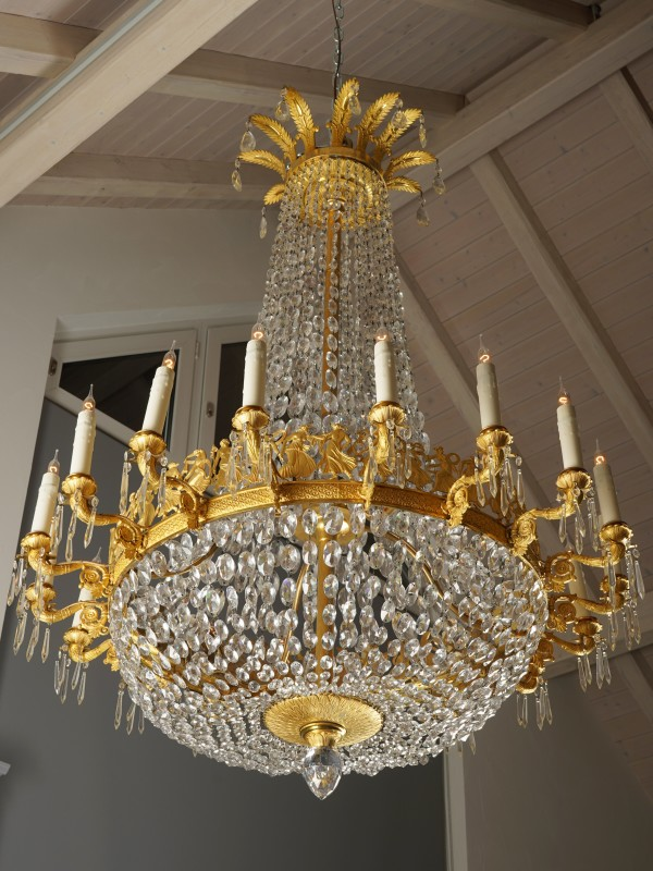An Empire eighteen-light chandelier, attributed to Pierre-Philippe Thomire, Paris, date circa 1810