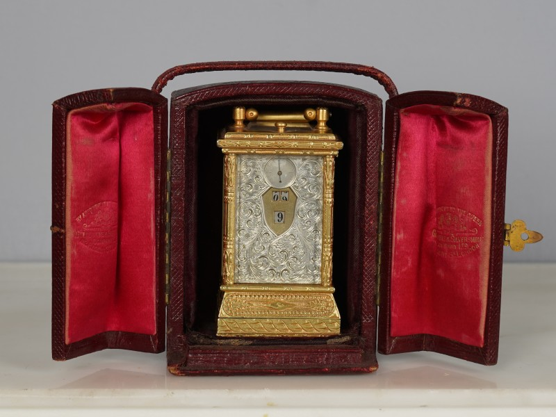 A miniature carriage clock with digital dial, Switzerland, date circa 1900