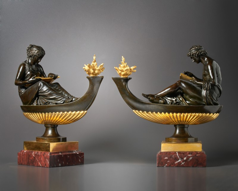 A pair of Louis XVI oil lamps featuring the figures of L'Étude and La Philosophie, attributed to Pierre-Philippe Thomire, Paris, date circa 1785
