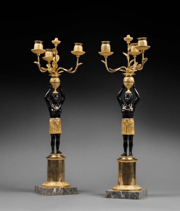 A pair of Directoire three-light candelabra 'Au Jeune Nègre', attributed to Jean-Simon Deverberie, Paris, date circa 1800