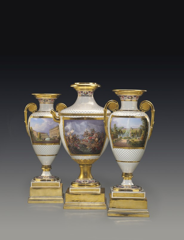 "A highly important Classical armorial and topographical three-piece vase garniture from ""The Meiningen Service"" by KPM, Berlin, commissioned in 1850"