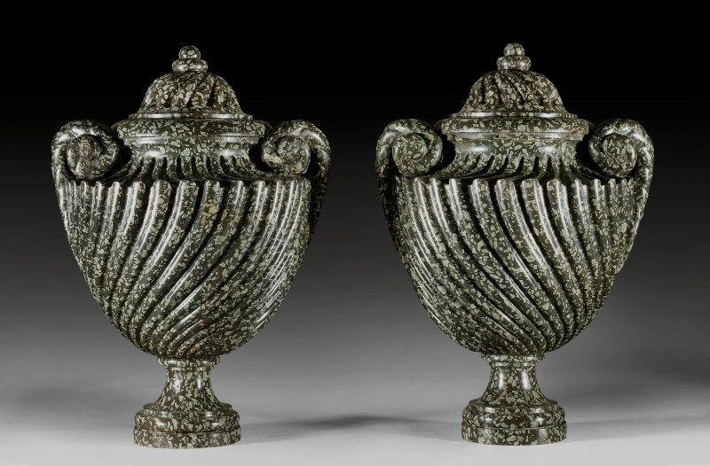 A pair of Louis XVI covered vases, Paris, date circa 1765