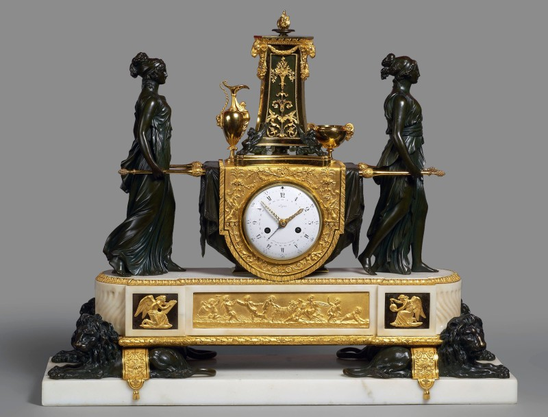 A Louis XVI mantel clock representing the Vestal Virgins Carrying the Sacred Fire by Pierre-Claude Raguet-Lépine, Paris, date circa 1785-90