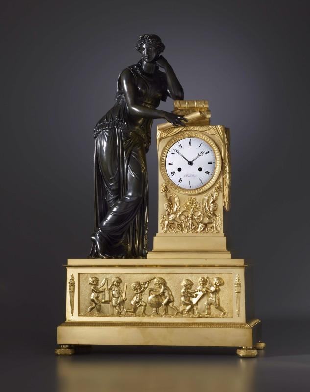 An Empire figural mantel clock by Basile Charles Le Roy, Paris, date circa 1815