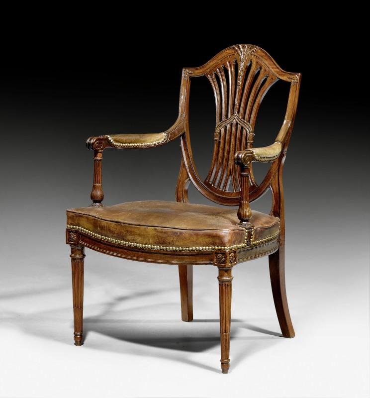"""A Louis XVI fauteuil """"à la Reine"""", with sabre legs, Paris, date circa 1780"""