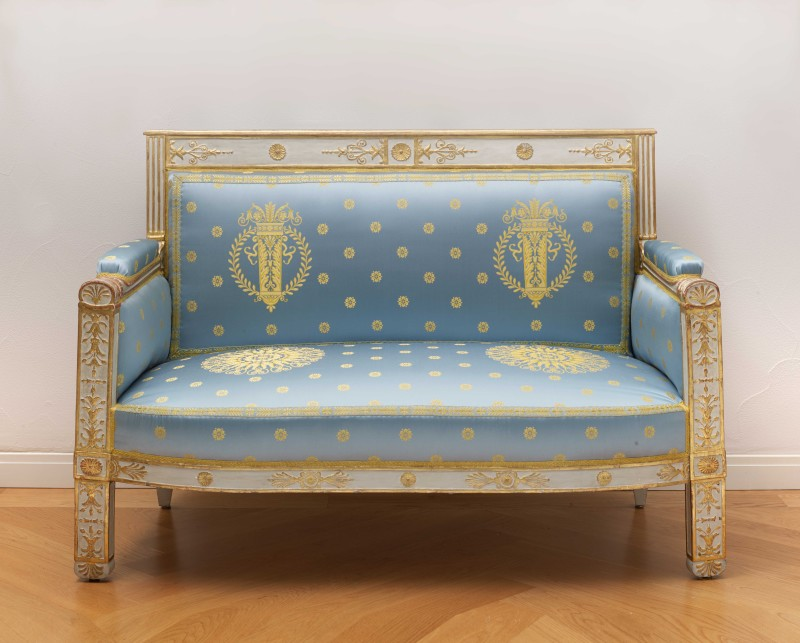 A set of Empire furniture comprising a canapé, two fauteuils and two side chairs attributed to Pierre-Gaston Brion, Paris, date circa 1809