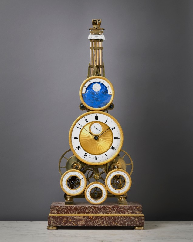 An Empire astronomical skeleton clock by Verneuil, Paris, date circa 1810