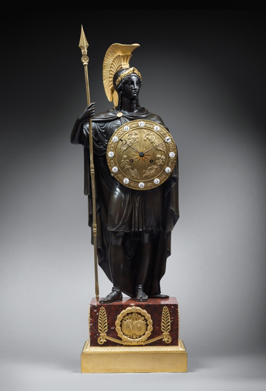 Gérard-Jean Galle (attributed to), A late Empire mantel Clock representing Pallas Athena attributed to Gérard-Jean Galle, Paris, date circa 1820