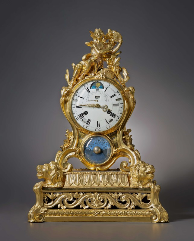 A Louis XV astronomical calendar mantel clock by Pierre Millot, Paris, date circa 1760