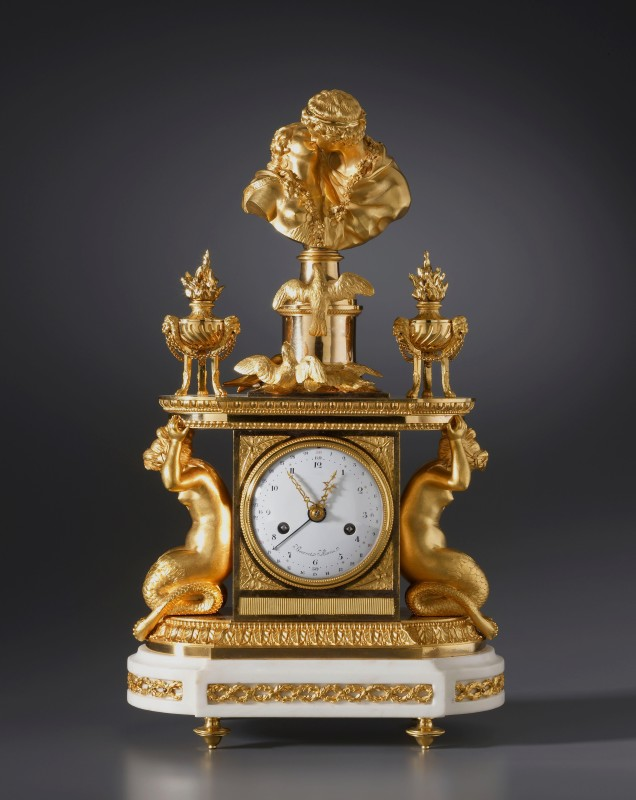 Noël Bourret, A late eighteenth century figural mantel clock of eight day duration by Noël Bourret, Paris, date circa 1785-95