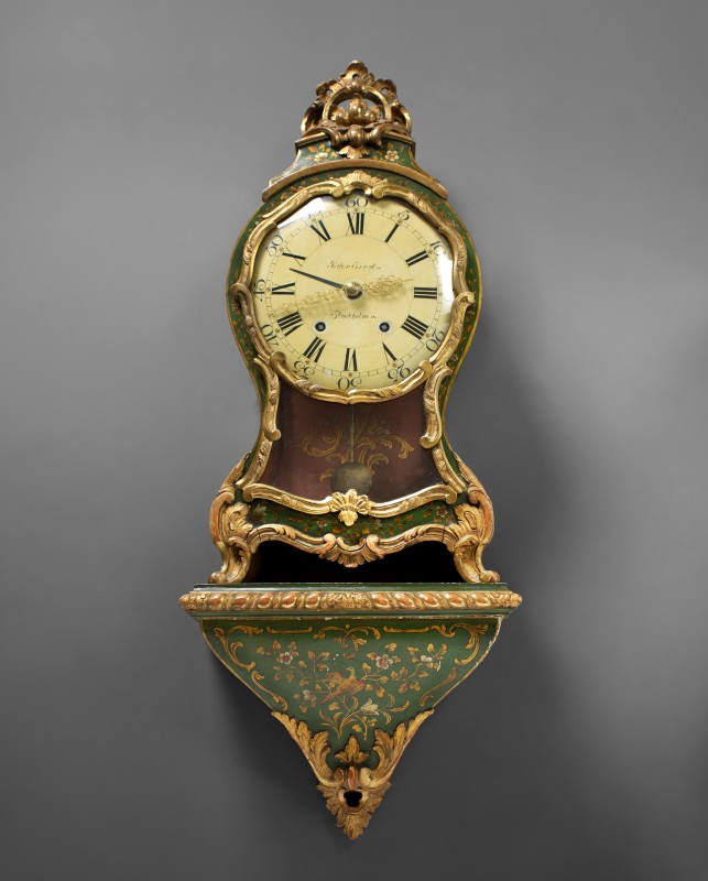 A Swedish Rococo cartel clock with bracket by Petter Ernst, Stockholm, date circa 1760