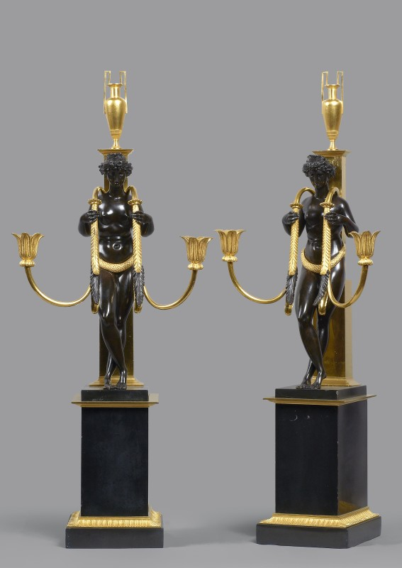 A pair of Directoire two-light candelabra attributed to Pierre-Philippe Thomire, Paris, date circa 1800