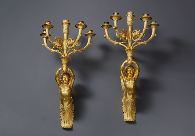 A pair of Empire five-light wall-lights attributed to Pierre-Philippe Thomire, Paris, date 1809-10
