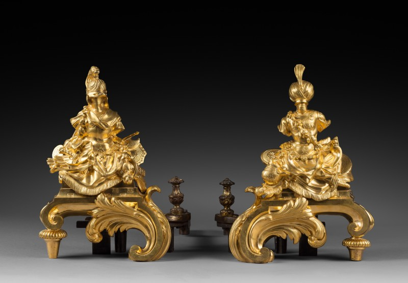 Nicolas Coustou (after), A pair of Régence gilt bronze chenets after a design by Nicolas Coustou, Paris, date circa 1745