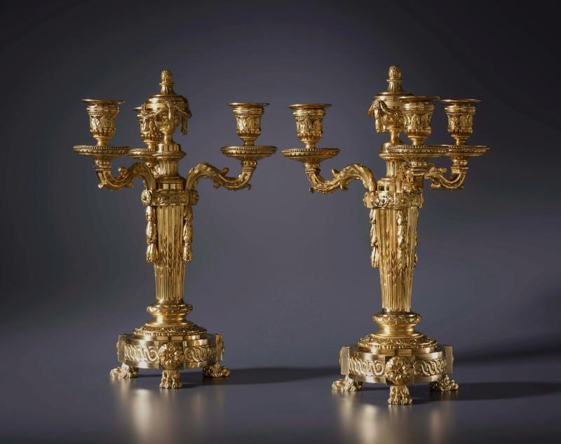 A pair of Louis XVI four light candelabra cassolettes, Paris, date circa 1765