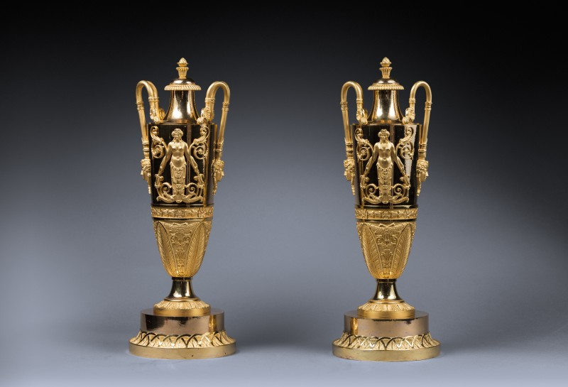 A pair of covered vases attributed to Claude Galle, Paris, date circa 1810