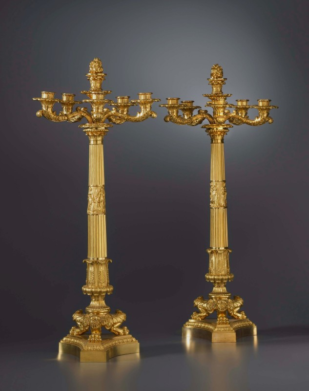 A pair of Empire six-light candelabra attributed to Pierre-Philippe Thomire, Paris, date circa 1810