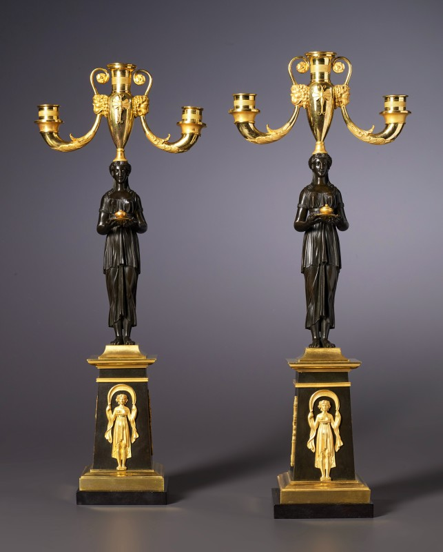 Apair of Empire three-light candelabra attributed to Claude Galle, Paris, date circa 1815
