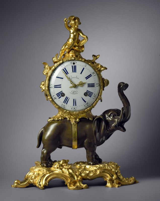 A Louis XV Pendule 'À L'Éléphant' by Gosselin case by Jean-Joseph de Saint-Germain, Paris, dated 1752
